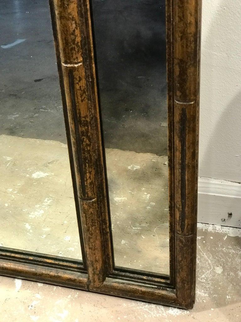 Midcentury Faux Bamboo Acid Washed Wood Trellis Mirror For