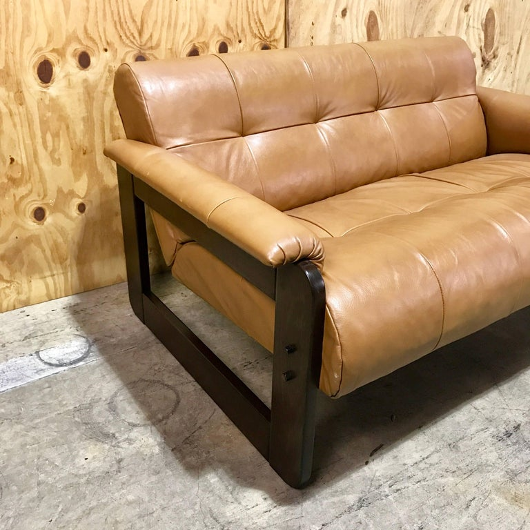 Percival Lafer Rosewood And Distressed Tufted Yellow: Brazilian Rosewood And Camel Leather Loveseat By Percival