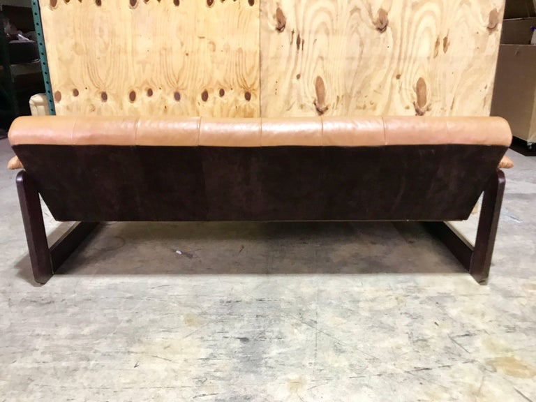 Mid-Century Modern Brazilian Rosewood and Saddle Leather Long Sofa by Percival Lafer, #11874 For Sale