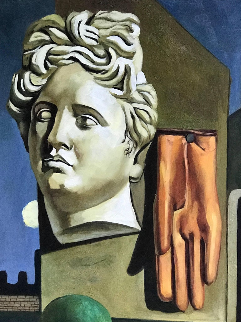 American Midcentury Surrealist Still Life, After Gorgio De Chirico For Sale