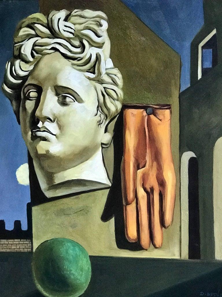 Mid-Century Modern Midcentury Surrealist Still Life, After Gorgio De Chirico For Sale