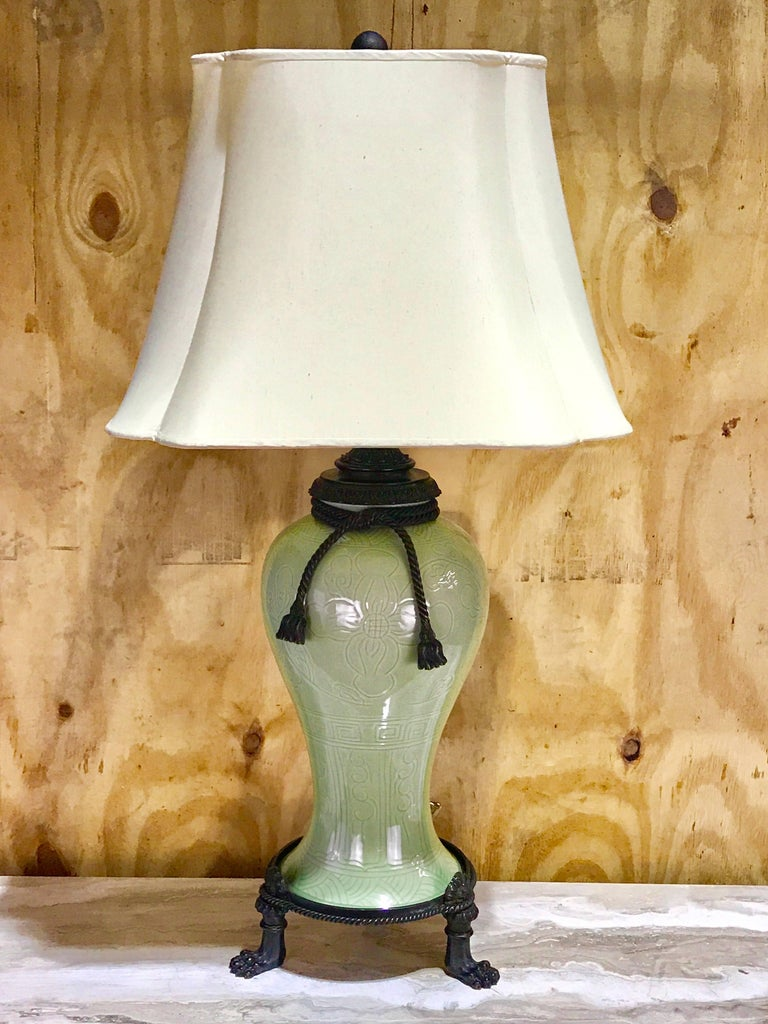 Chinese Export Large Pair of Chinese Celadon Bronze-Mounted Lamps For Sale