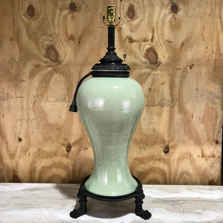 Large Pair of Chinese Celadon Bronze-Mounted Lamps For Sale 2