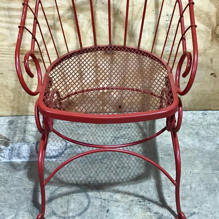 Pair Of Antique French Wrought Iron Spring Motion Chairs