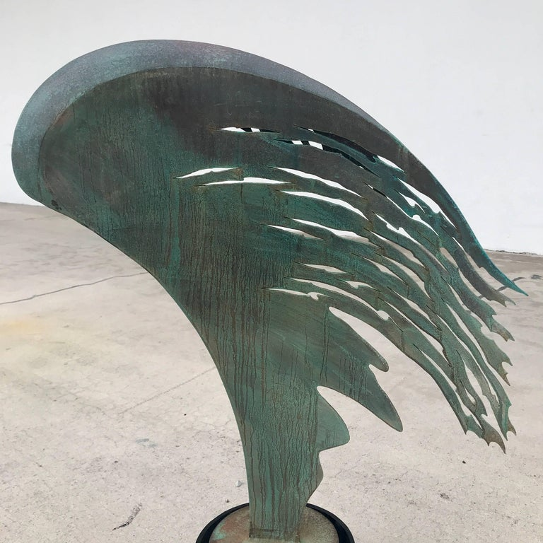 Midcentury Angel Wing Sculpture, Beautifully cast and finished, pierced acid washed- verdigris patinated Iron, raised on an 11