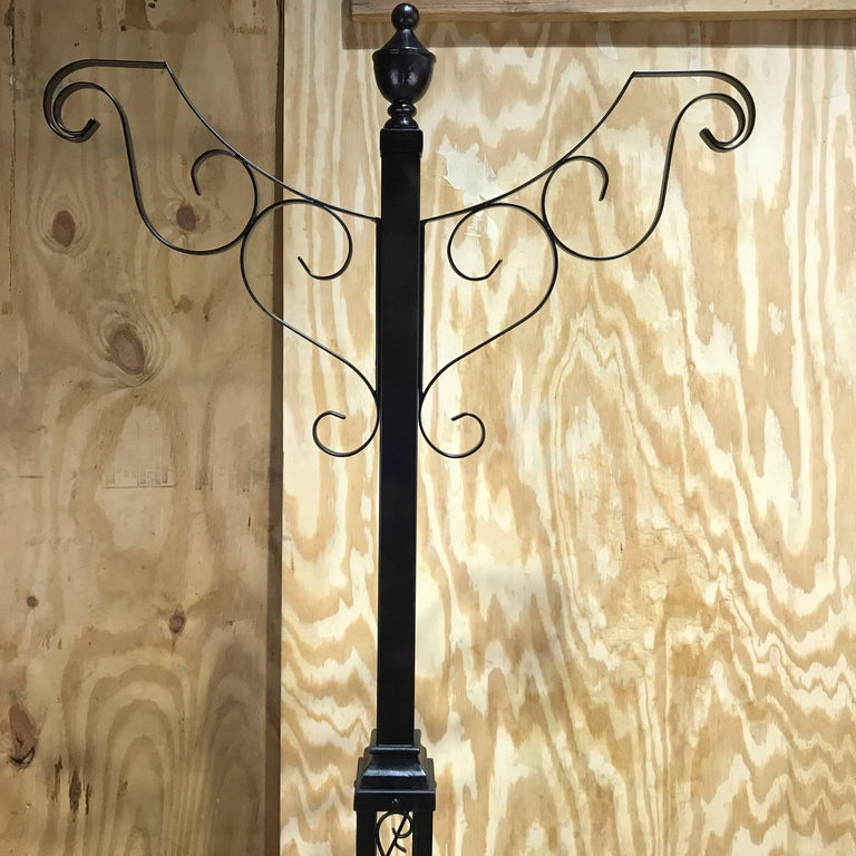 American Victorian Style Wrought Iron Lamp Post Hanging Planter, from Walt Disney World For Sale