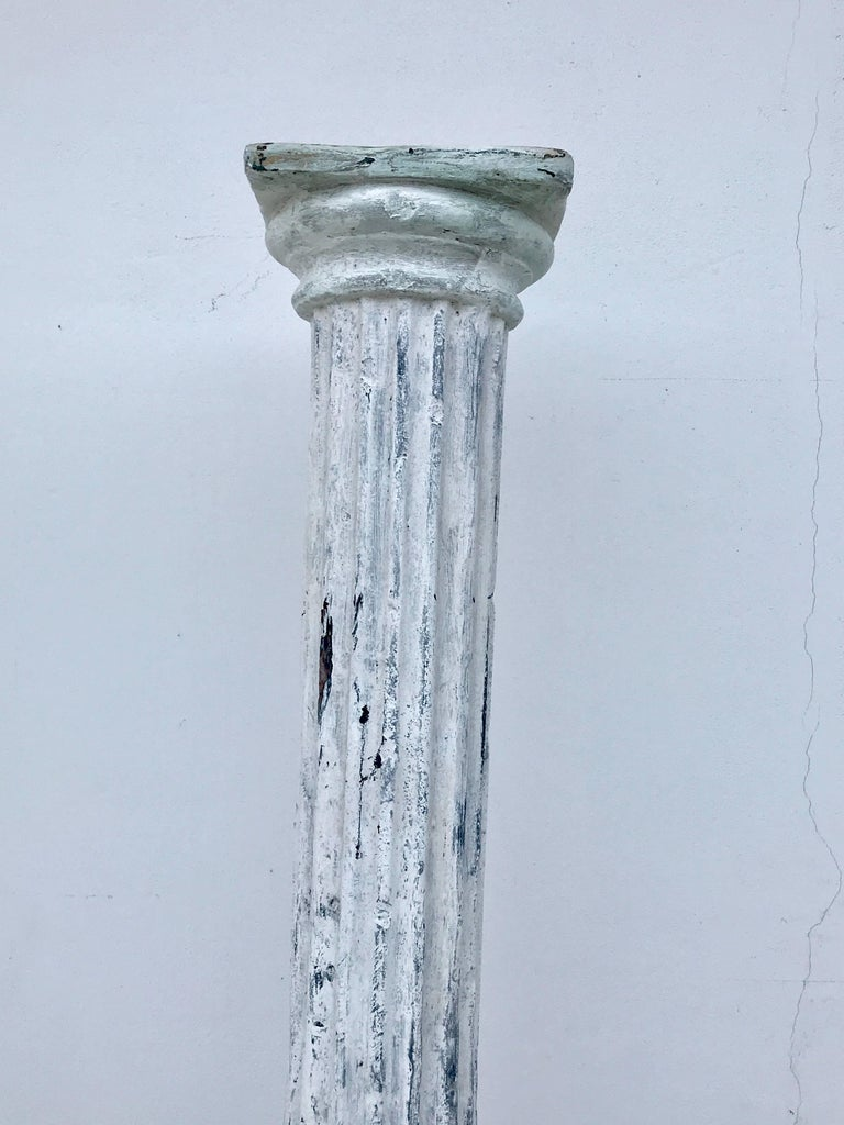 Pair of tall distressed painted doric order columns for for Fiberglass columns for sale