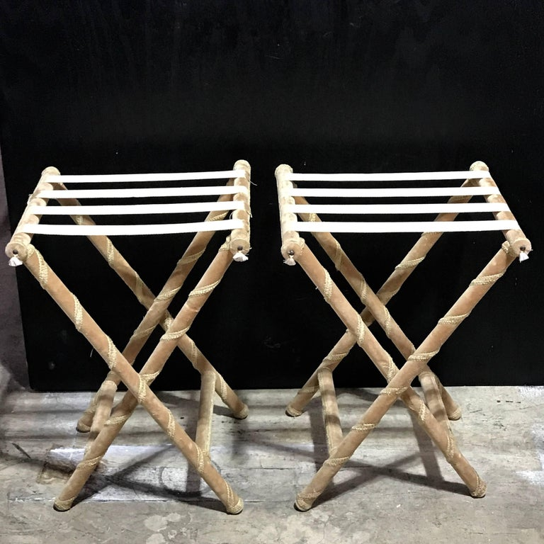 French Pair of Upholstered Luggage Racks from Villa Artemis, Palm Beach For Sale