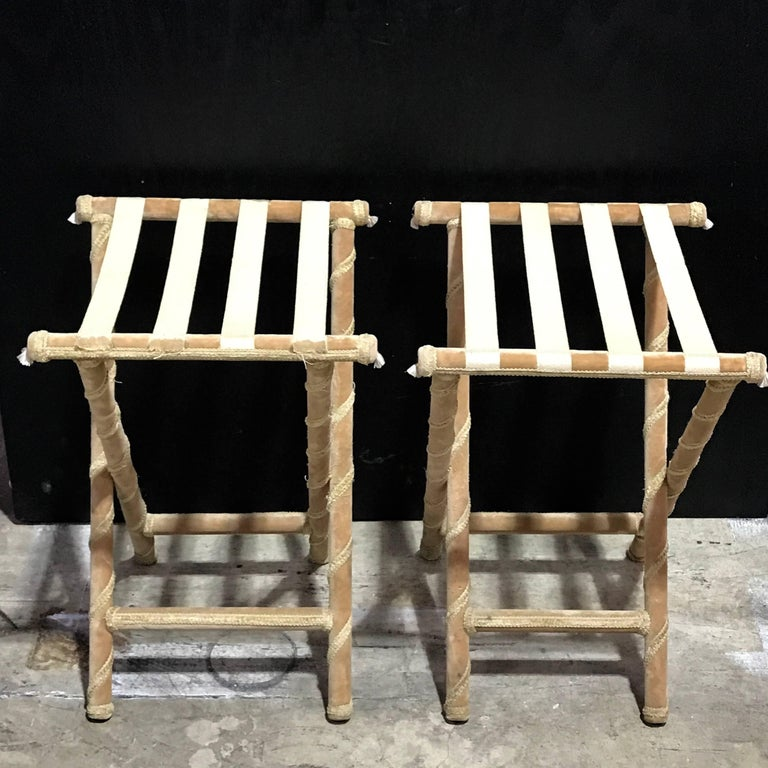 Pair of Upholstered Luggage Racks from Villa Artemis, Palm Beach In Fair Condition For Sale In West Palm Beach, FL
