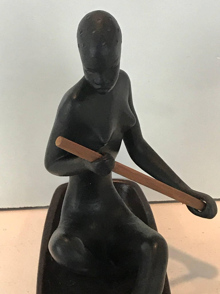 Hagenauer Style Nubian Sculpture, by Gmundner Keramik In Excellent Condition For Sale In West Palm Beach, FL
