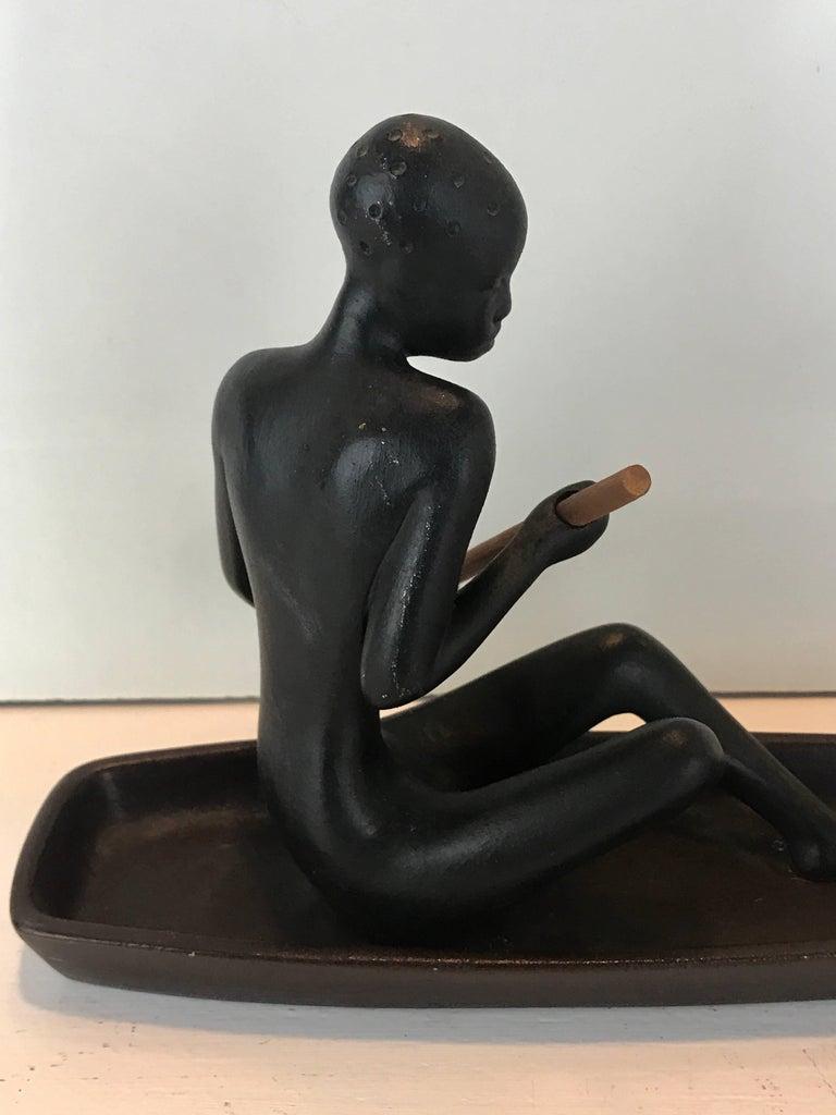 Metal  Hagenauer Style Nubian Sculpture, by Gmundner Keramik For Sale