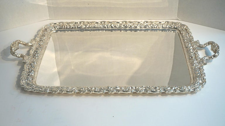 American Antique Tiffany & Co. Silver Soldered Repouse Tray For Sale