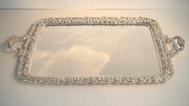 High Victorian Antique Tiffany & Co. Silver Soldered Repouse Tray For Sale