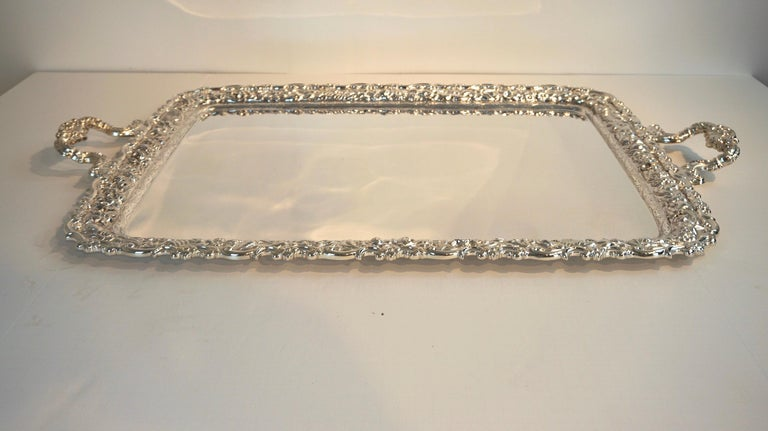 Repoussé Antique Tiffany & Co. Silver Soldered Repouse Tray For Sale