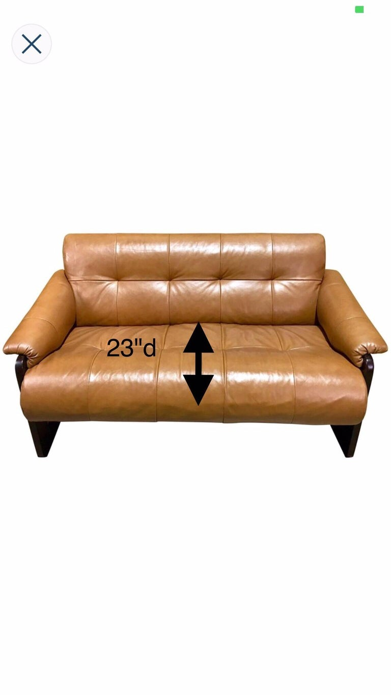 Brazilian Rosewood and Saddle Leather Long Sofa by Percival Lafer, #11874 For Sale 5