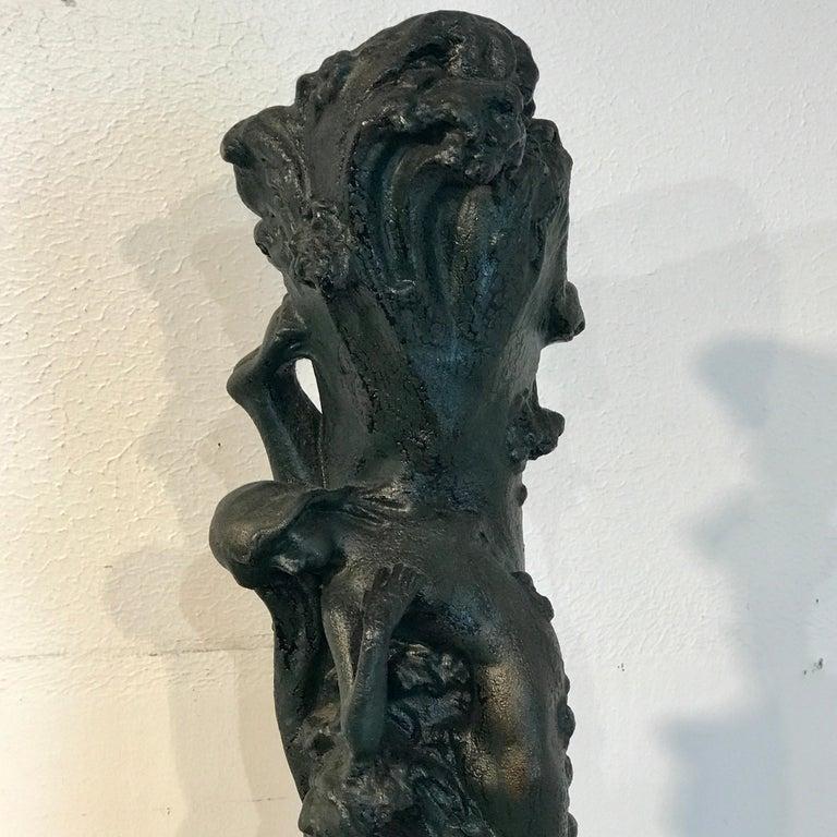 Monumental Art Nouveau Amphora Teplitz Mermaid Vase In Good Condition For Sale In West Palm Beach, FL