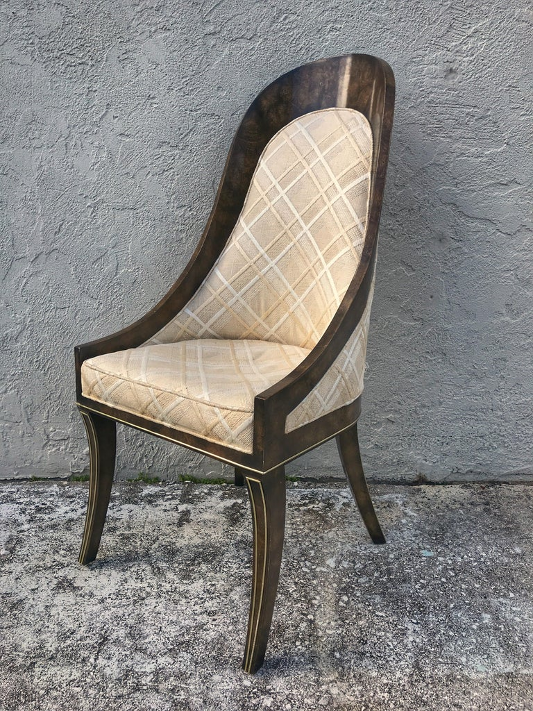 Set of Eight Mastercraft Amboyna and Brass Spoon Back Dining Room Chairs In Good Condition For Sale In West Palm Beach, FL