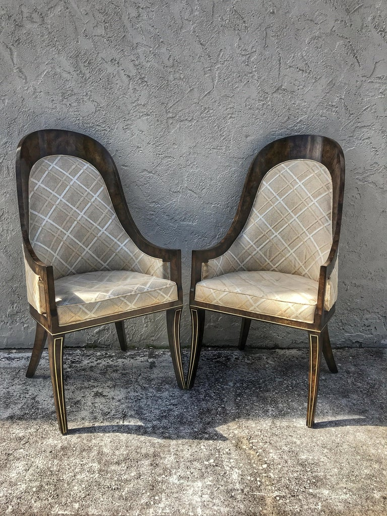 Mid-Century Modern Set of Eight Mastercraft Amboyna and Brass Spoon Back Dining Room Chairs For Sale