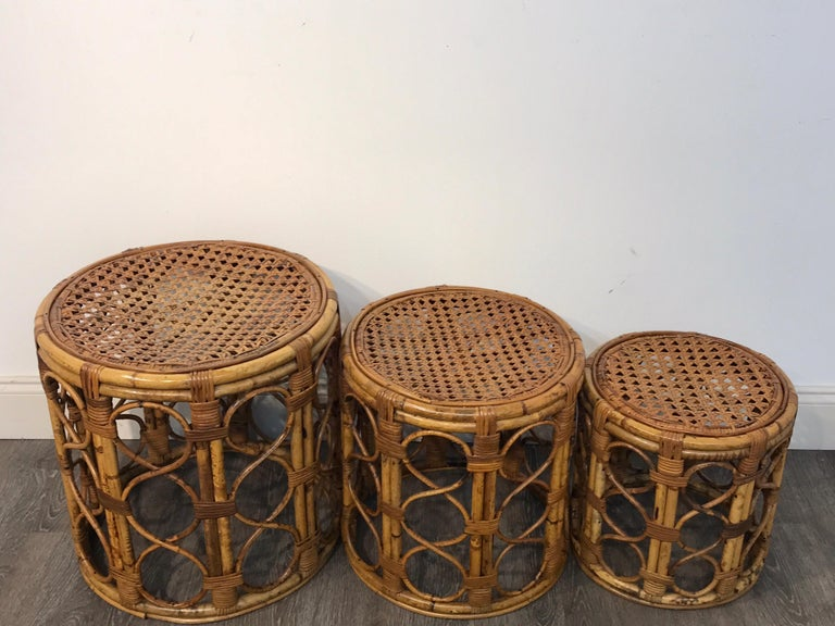 Set of Three Graduating/ Nesting Bamboo, Rattan and Reed Nesting Side Tables In Good Condition For Sale In West Palm Beach, FL