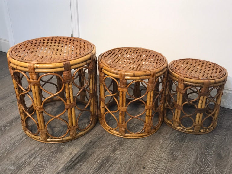 European Set of Three Graduating/ Nesting Bamboo, Rattan and Reed Nesting Side Tables For Sale