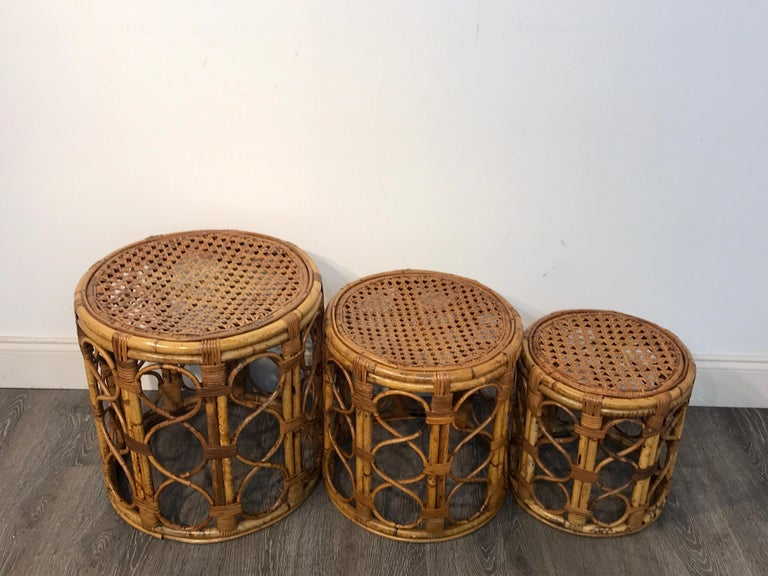 20th Century Set of Three Graduating/ Nesting Bamboo, Rattan and Reed Nesting Side Tables For Sale