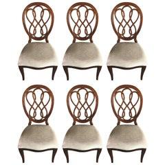 Six Mahogany Medallion Back Dining Chairs