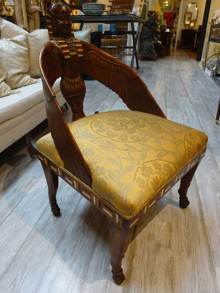 Carved 19th Century English Egyptian Revival Chair For Sale