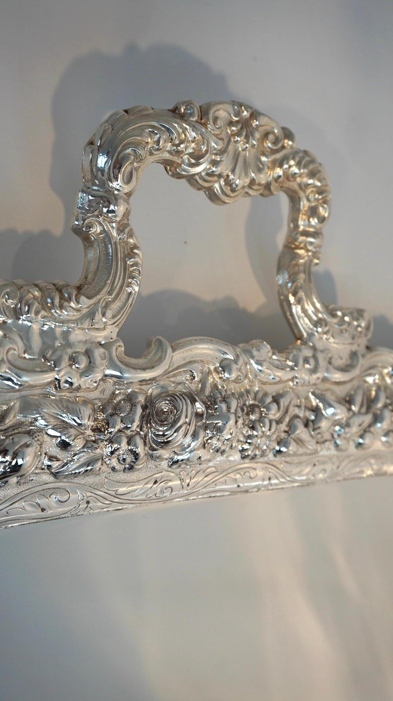 Silver Plate Antique Tiffany & Co. Silver Soldered Repouse Tray For Sale