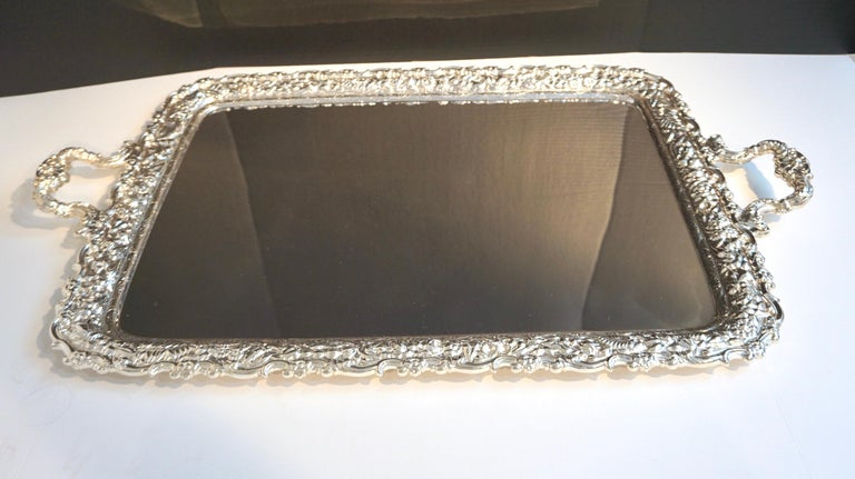 Antique Tiffany & Co. silver soldered repouse tray, triple mint condition, no monogram
