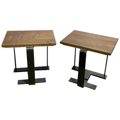 Iron and Wood Tables After Pierre Chareau SN2