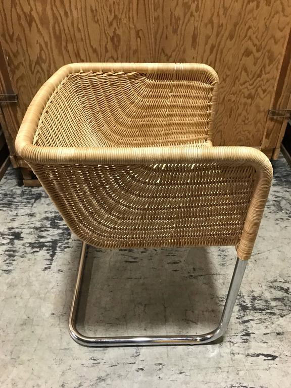 924608cceba36 Mid-Century Modern Six Fabricius and Kastholm Chrome and Wicker Dining  Chairs For Sale
