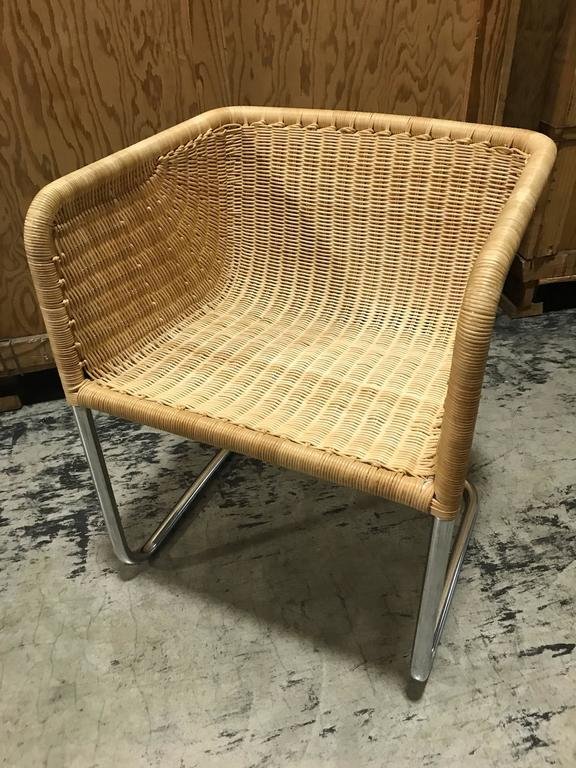89c680f0693c7 Six Fabricius and Kastholm Chrome and Wicker Dining Chairs at 1stdibs