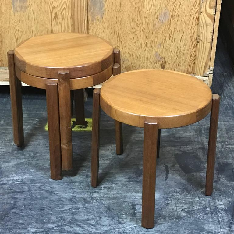 Great Set Of Chunky Danish Modern Stacking Circular Tables Or Stools, Each  One With Inlaid