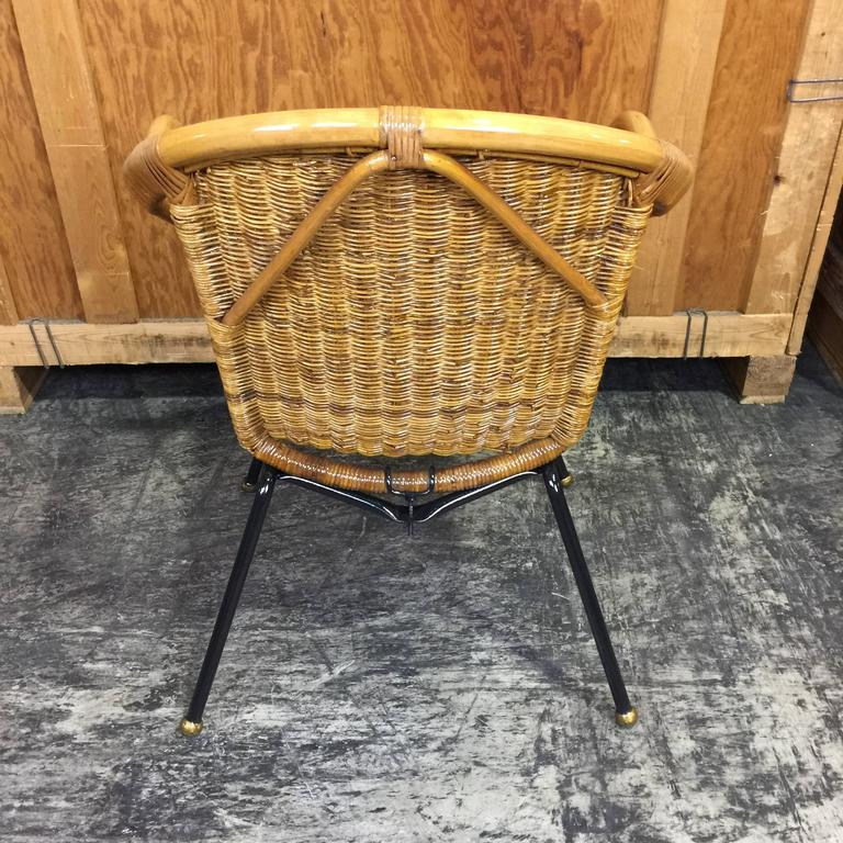 Italian mid century rattan patio chair restored for sale for Mid century furniture florida