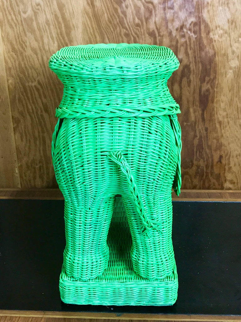 Pair Of Chinese Export Polychromed Wicker Elephant Garden