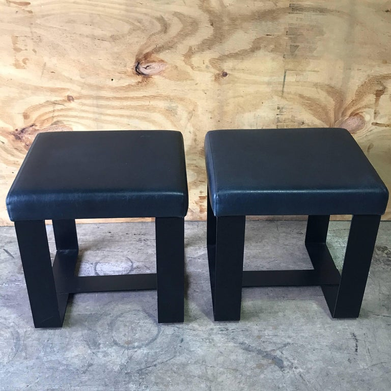 Forged Pair of French Modern Iron and Leather Cube Benches For Sale