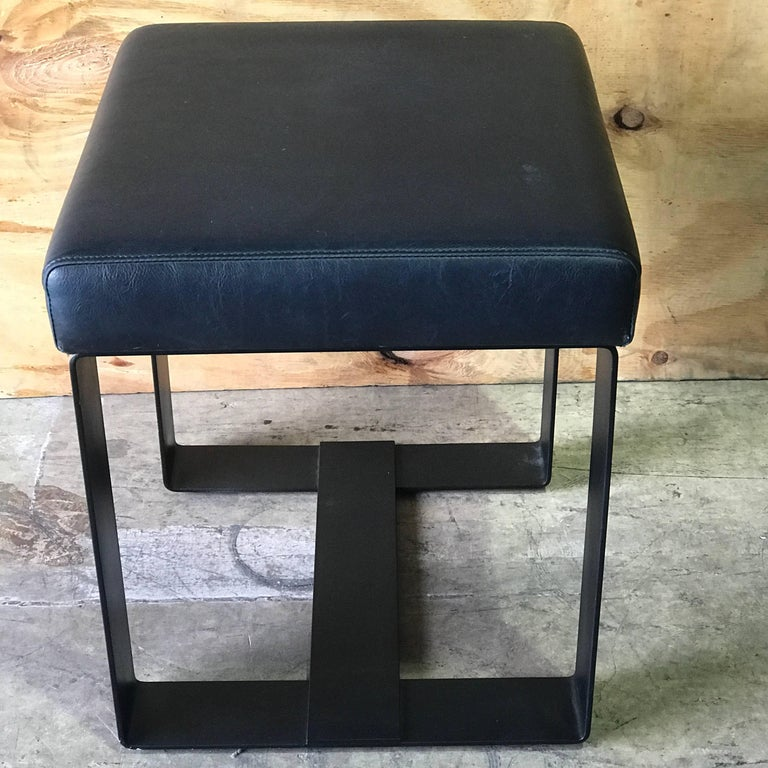 Pair of French Modern Iron and Leather Cube Benches For Sale 2
