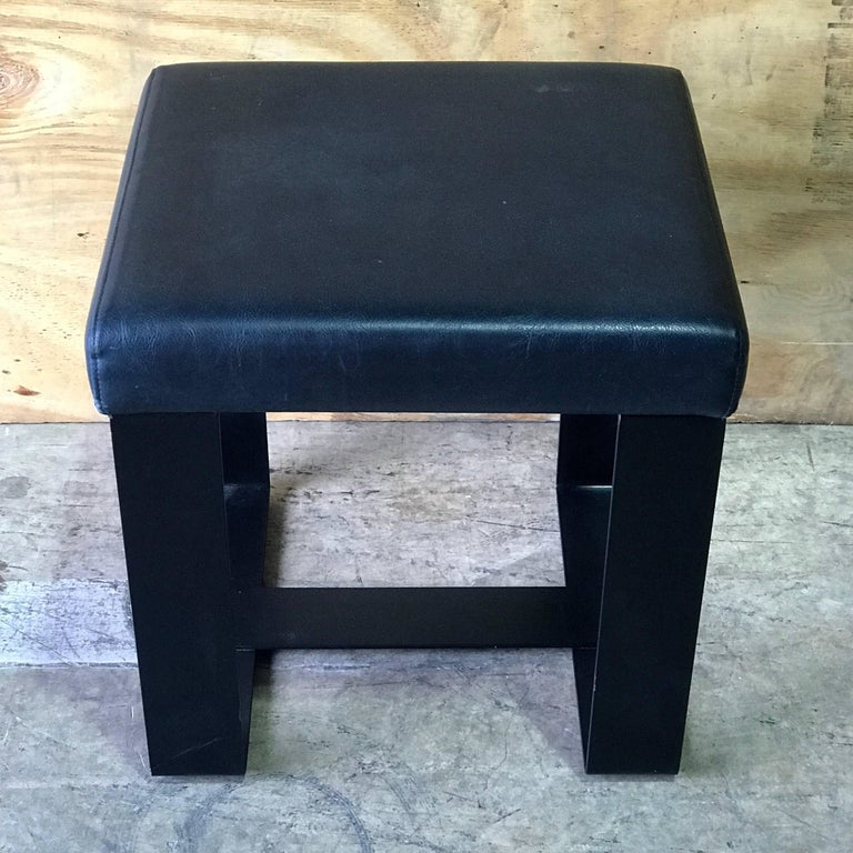 Pair of French Modern Iron and Leather Cube Benches For Sale 1
