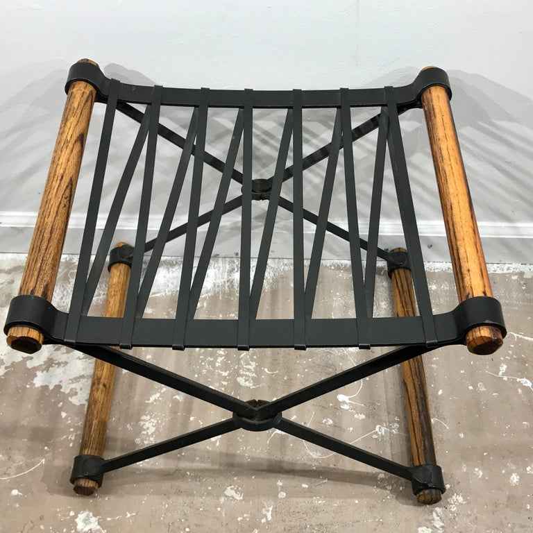 Cleo Baldon Quot X Quot Stool Of Wrought Iron And Oak For Sale At