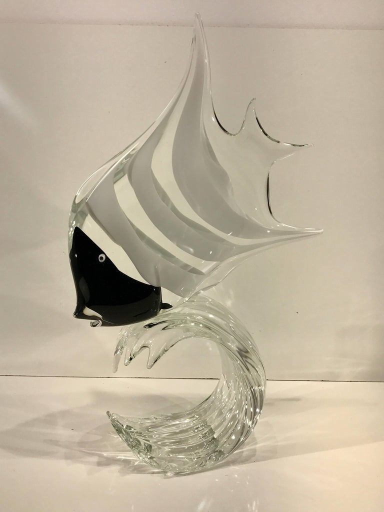 Large Black and White Murano Glass Angel Fish Sculpture, by Licio Zanetti 2
