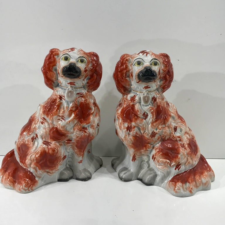 Great pair of Chunky Staffordshire seated spaniels, rare form, no defects noted