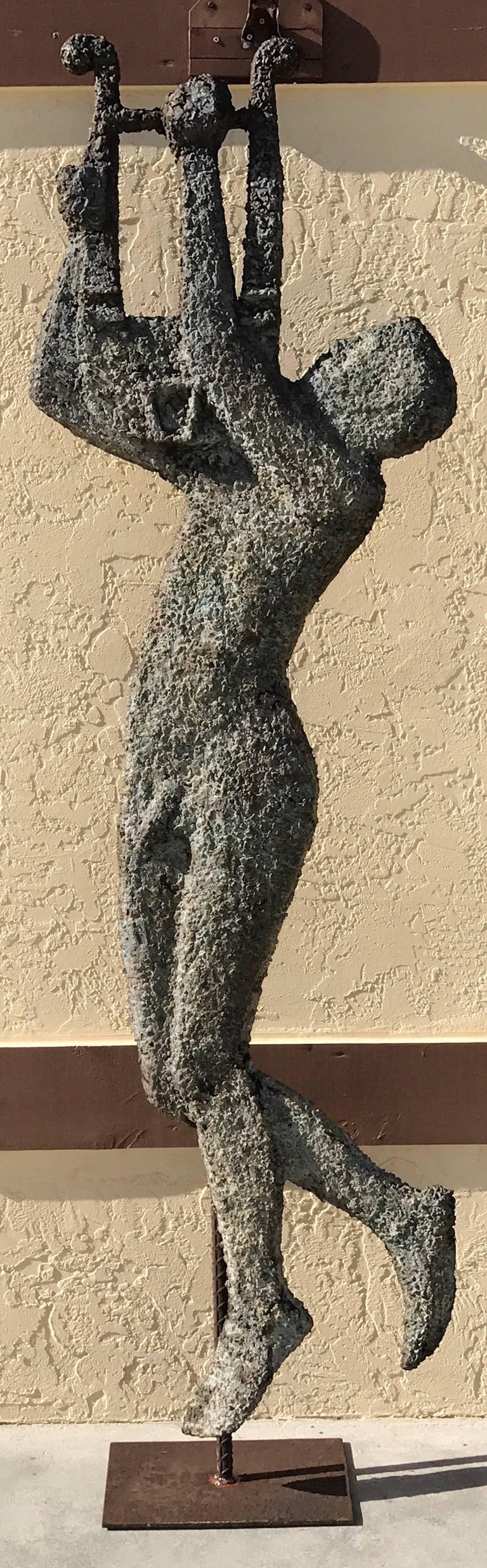 French Modern Zinc and Iron Totemic Sculpture of Apollo with His Lyre 2
