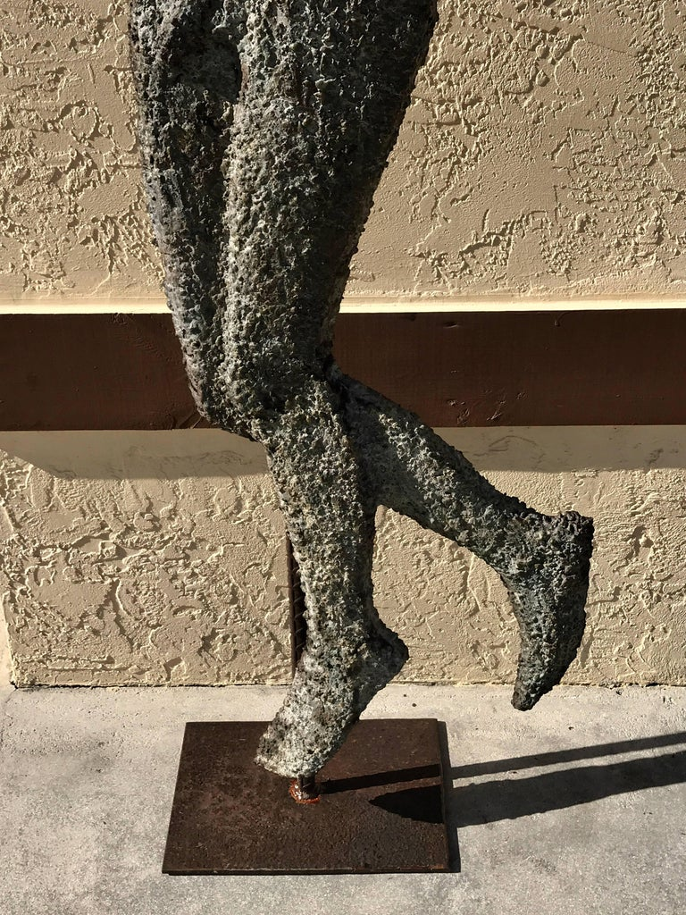 French Modern Zinc and Iron Sculpture of Apollo with His Lyre In Distressed Condition For Sale In West Palm Beach, FL