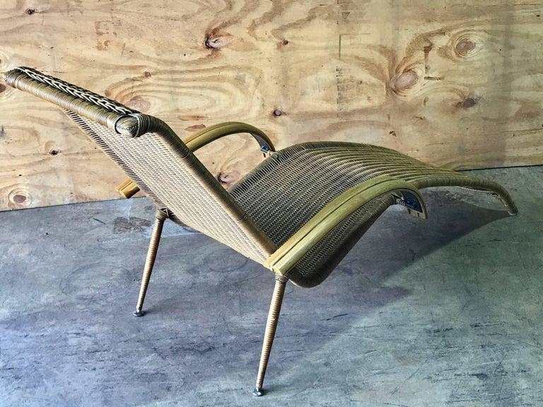 Midcentury Italian Woven Rattan Chaise Lounge, Restored ...