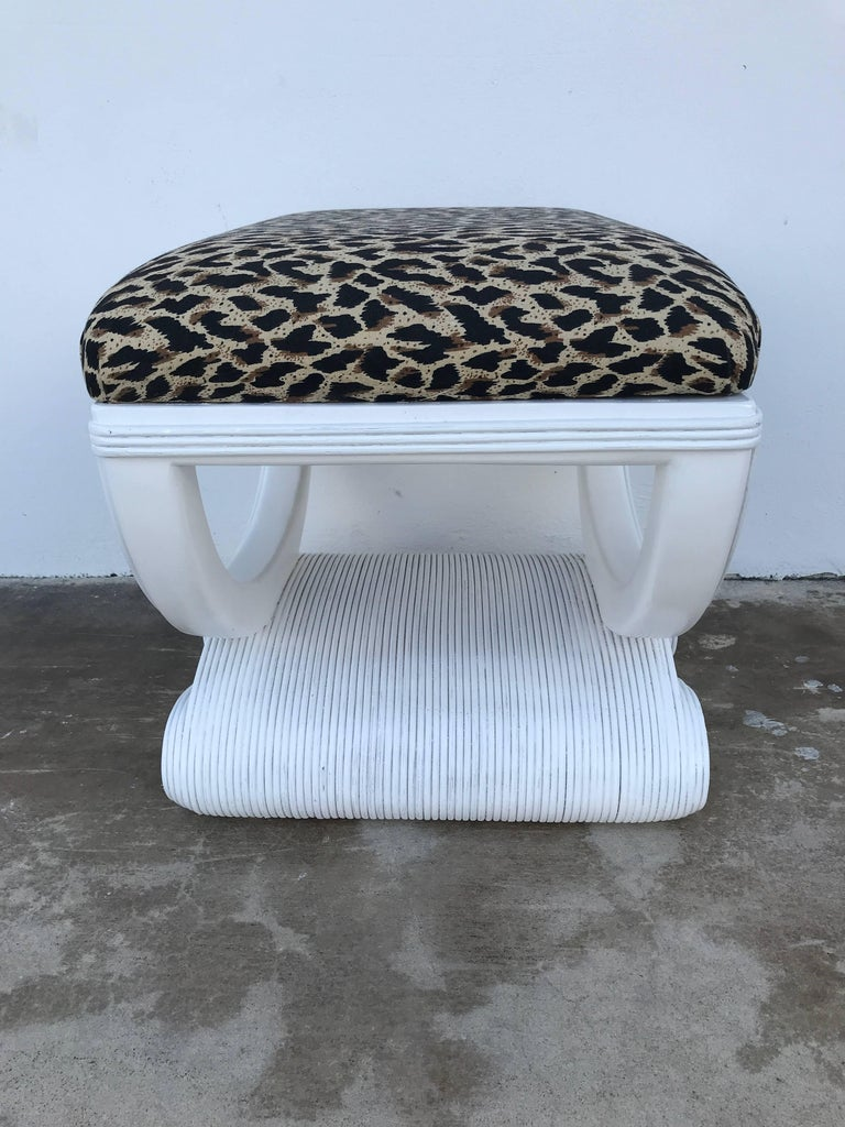 White Lacquered Rattan Bench in the Manner of Karl Springer In Good Condition For Sale In West Palm Beach, FL