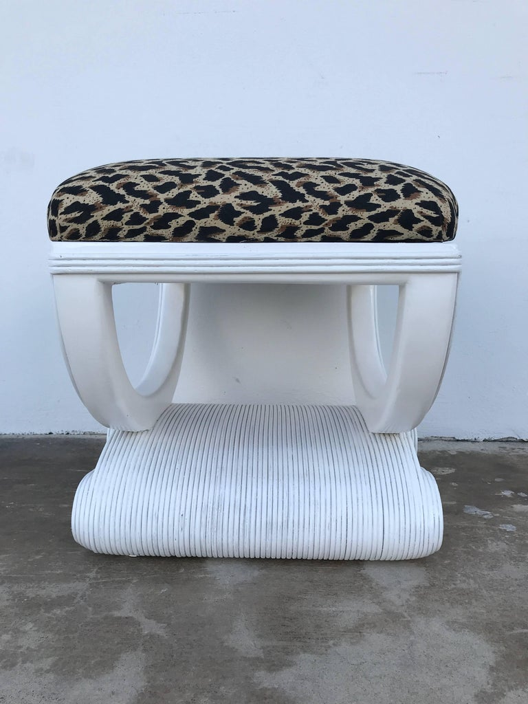 White Lacquered Rattan Bench in the Manner of Karl Springer For Sale 1