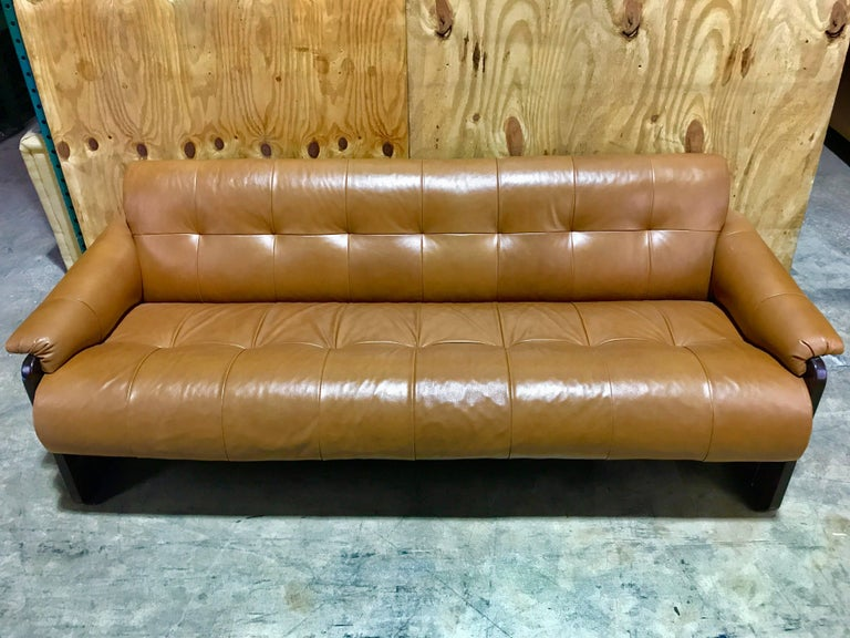 Brazilian Rosewood and Saddle Leather Long Sofa by Percival Lafer, #11874 For Sale 4
