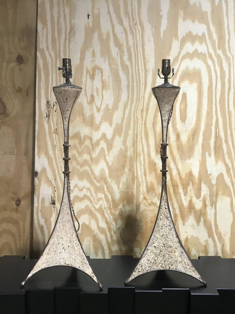 Pair of French modern cast stone and iron lamps, each one newly French wired 29