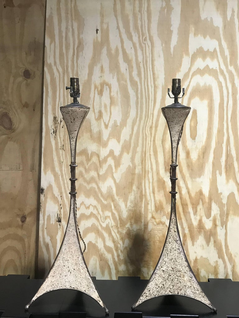 Forged Pair of French Modern Cast Stone and Iron Lamps