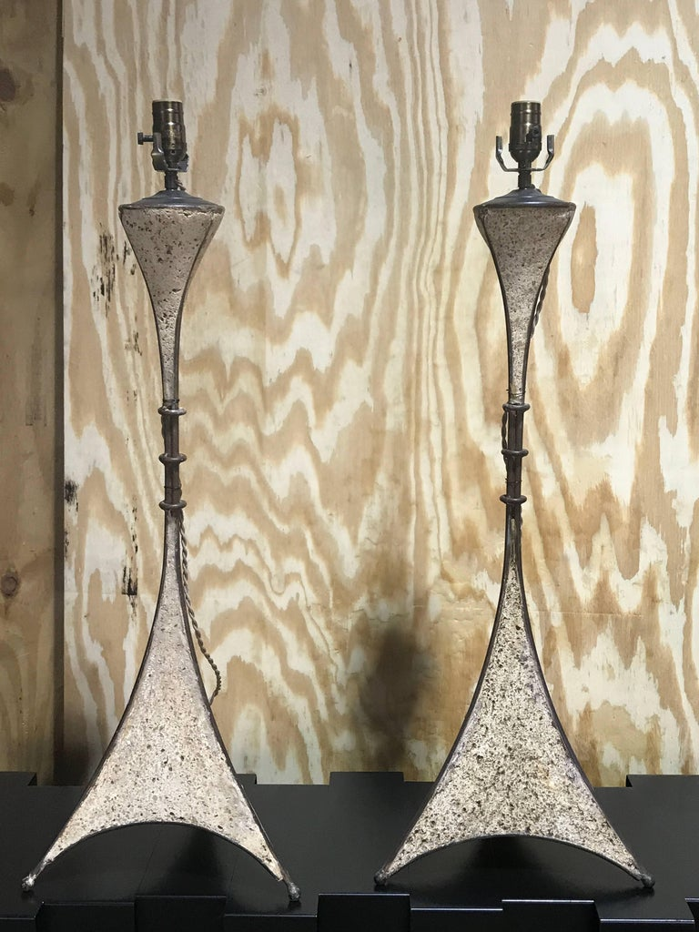 Pair of French Modern Cast Stone and Iron Lamps In Excellent Condition In West Palm Beach, FL